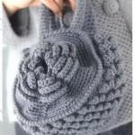 gül motifli gri tıp işi örgü çanta modeli