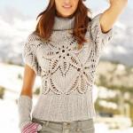 gri boğazlı kısa kollu bayan kazak modeli