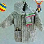 gri kapşonlu selanik örgüsü çocuk hırkası