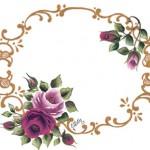 halkalı çiçek desenli dekupaj resmi
