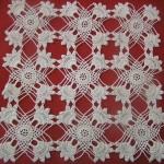 küçük kare motifli dantel vitrin takımı modeli