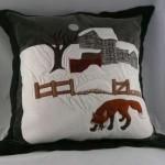kış manzaralı peluş yastık modeli