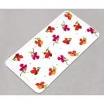kırmızı çiçek desenli banyo paspas modeli