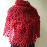 kırmızı çiçek motifli örgü şal modeli