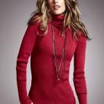 kırmızı boğazlı triko bayan kazak modeli