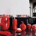 kırmızı dekoratif banyo seti modeli