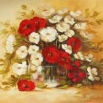 kırmızı küçük çiçekli dekupaj resmi