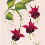 kırmızı küpe çiçeği desenli dekupaj resmi