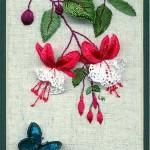 kırmızı küpe çiçeği motifli brezilya nakışı örneği