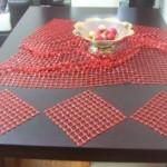 kırmızı kasnak işi salon takımı