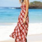 kırmızı straplez uzun elbise modeli