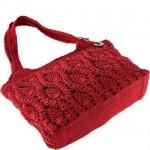 kırmızı tığ işi örgü kol çantası modeli