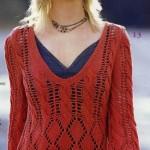 kırmızı uzun kollu merserize kazak modeli