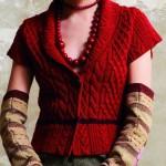 kırmızı yarım kollu örgü yelek modeli