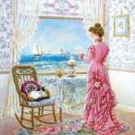 kadın figürlü dekupaj deseni
