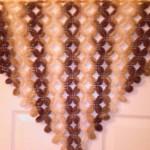 kahverengi çiçek desenli fıstıklı şal örneği