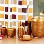 kahverengi ahşap desenli banyo seti modeli