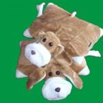 kahverengi ayıcık desenli peluş yastık modeli