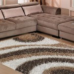 kahverengi beyaz renkli shaggy halı modeli