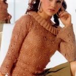 kahverengi boğazlı bayan fileli kazak modeli