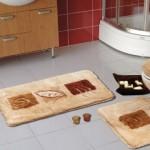 kahverengi desenli banyo paspas modeli