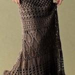 kahverengi uzun örgü etek modeli