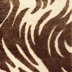 kahverengi zebra desenli shaggy halı modeli