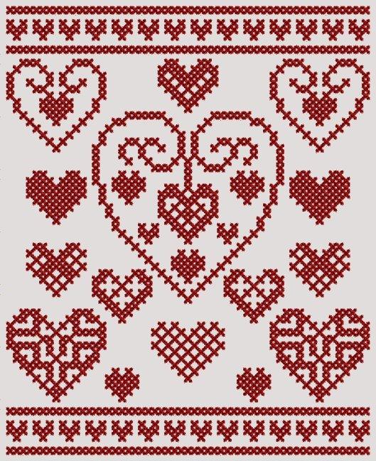 kalp desenli kaneviçe etamin modeli