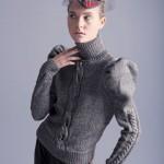 karpuz kollu gri boğazlı bayan kazak modeli