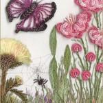 kelebek ve çiçek desenli brezilya nakışı örneği