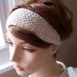 krem rengi örgü saç bandı modeli