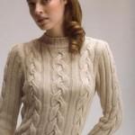 kremrengi saç örgü bayan kazak modeli