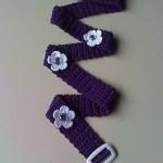 lacivert çiçek desenli örgü kemer modeli