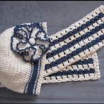 lacivert beyaz şapkalı örgü bebek atkısı