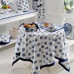 lacivert beyaz yuvarlak masa örtüsü modeli
