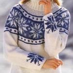lacivert kar tanesi desenli boğazlı bayan kazak modeli