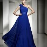 lacivert tek omuz askılı uzun elbise modeli