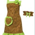 leopar desenli bandanalı mutfak önlük modeli