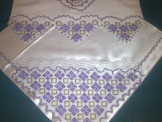 Nişan bohçası modelleri /lila renkli dantel bohçası ve havlu