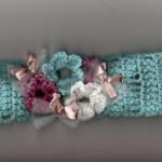mavi çiçek çiçek saç bandı modeli
