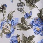 mavi çiçek baskılı döşemelik kumaş modeli