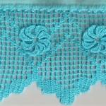 mavi çiçek desenli çarşaf danteli modeli