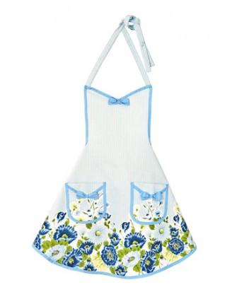 Mutfak önlükleri mavi çiçek desenli mutfak önlük modeli