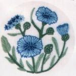 mavi çiçekli kasnak nakışı modeli