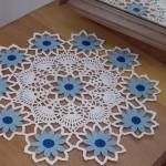 mavi çiçekli komidin danteli örneği