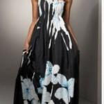 mavi çiçekli siyah uzun elbise modeli