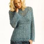 mavi fileli bayan kazak modeli