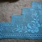 mavi gül desenli dantel bohça modeli