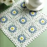 mavi gül motifli dantel yatak odası takımı