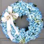 mavi ortancalı kurdeleli kapı süsü